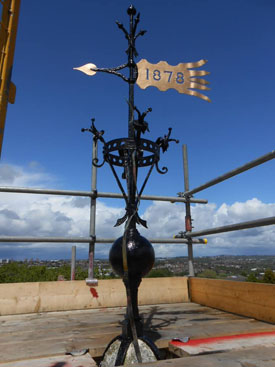 Weather vane after restoration. Select the image to see a larger view
