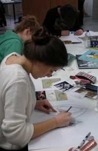 BMETC students working on ideas for the window design